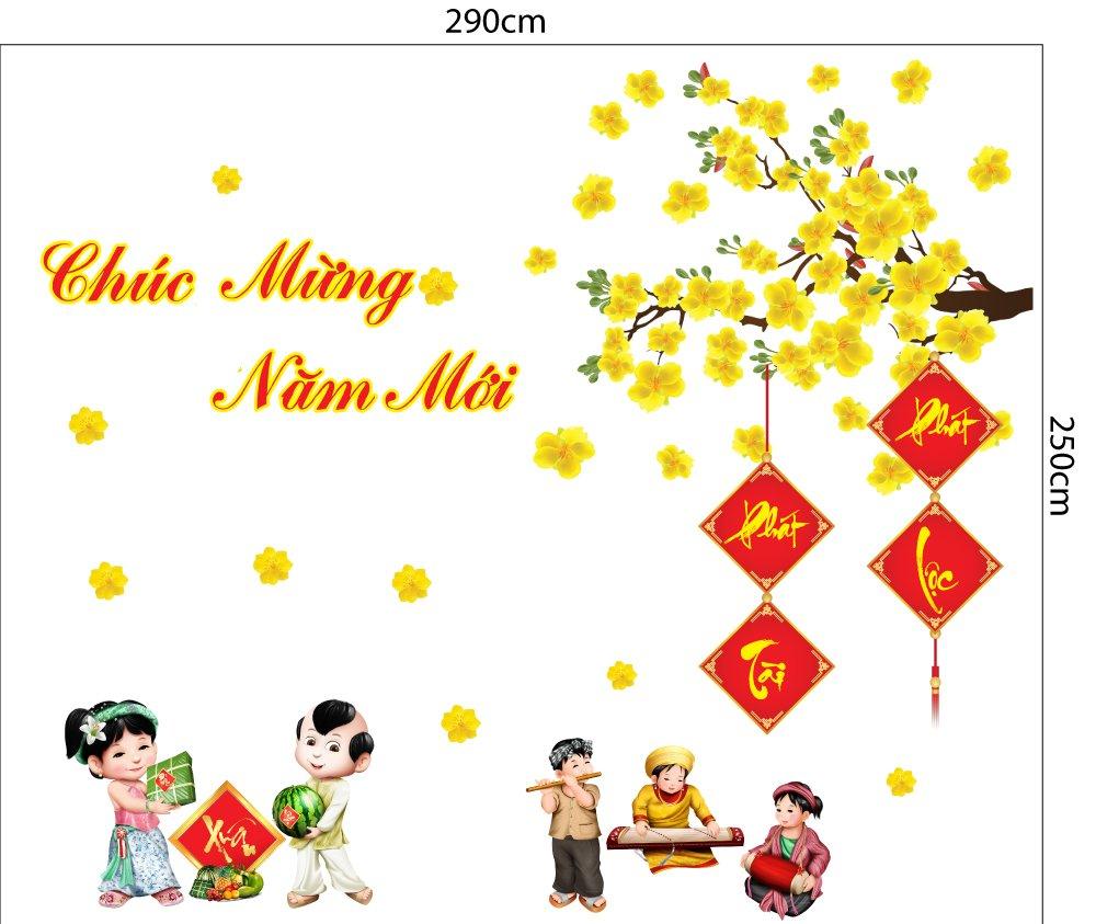 Combo Decal Trang Trí Tết Xuân Tân Sửu 2021 Mẫu 20