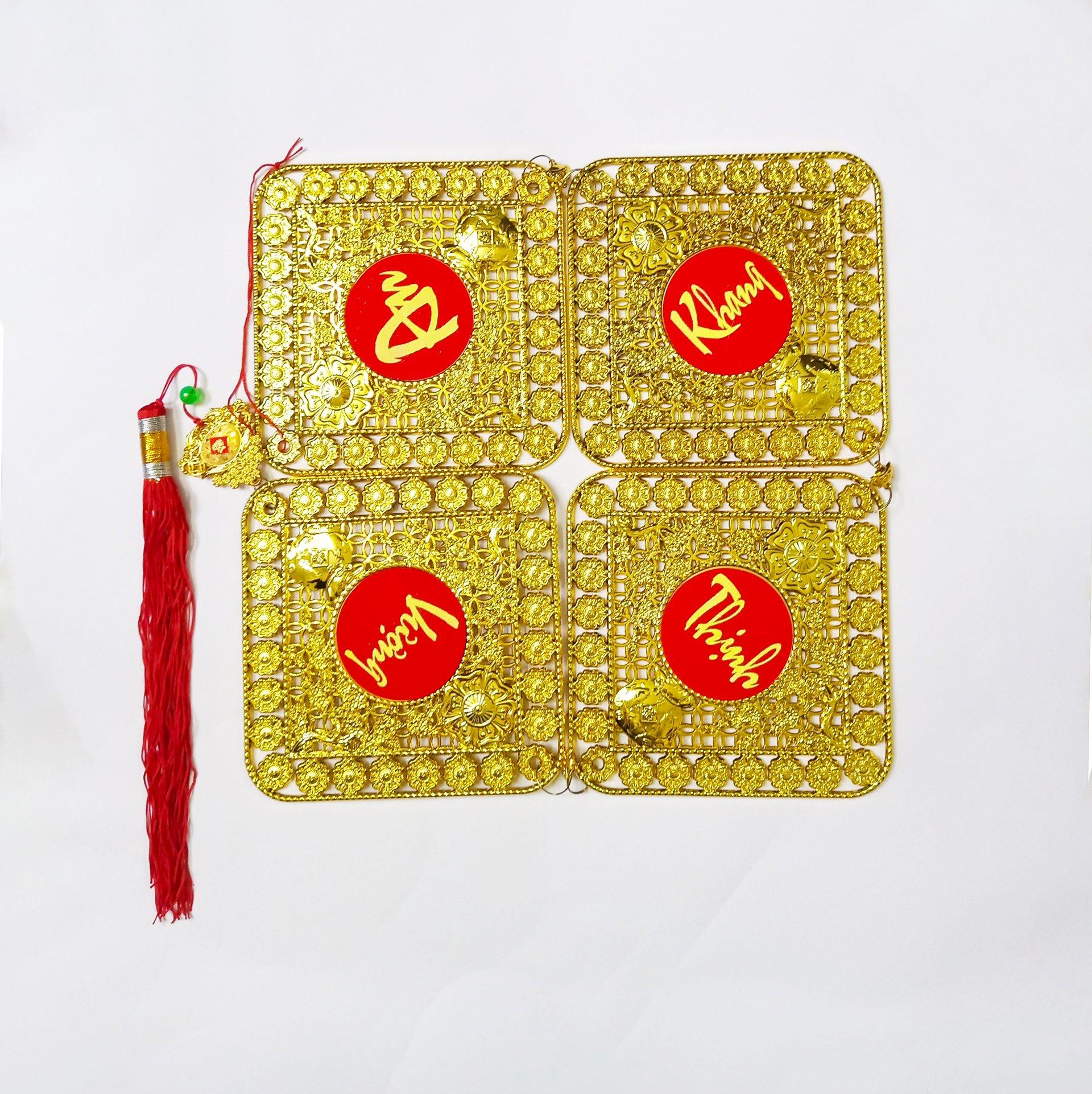 Dây lộc treo Cây mai túi vàng hình vuông 42 (2size)