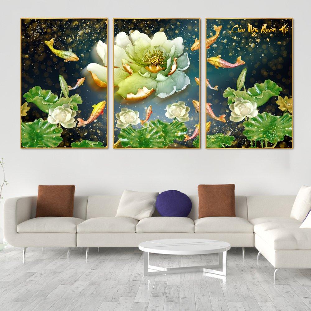 Tranh treo tường hoa sen cá chép vàng