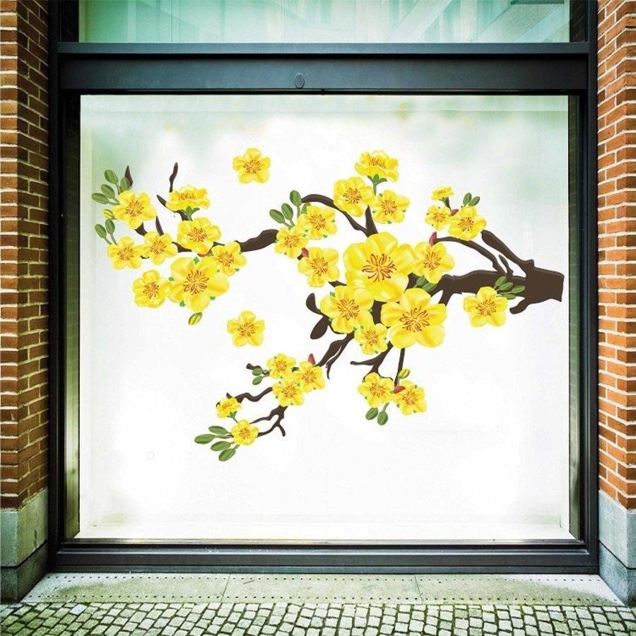 Decal Trang Trí Tết Mai Vàng Nở Rộ 3 size 100x150