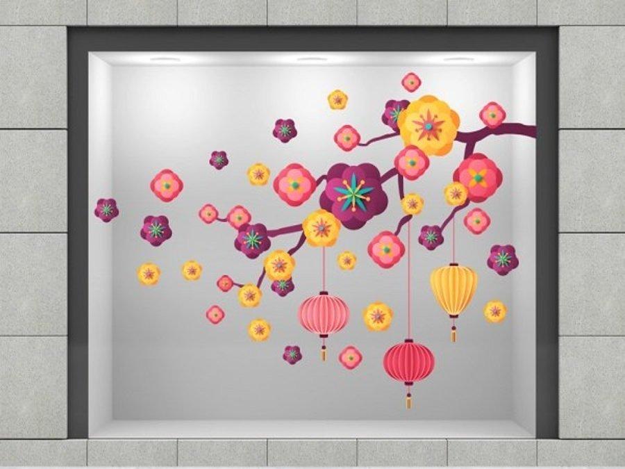 Decal trang trí tết hoa đào cách điệu 2 size 80x120