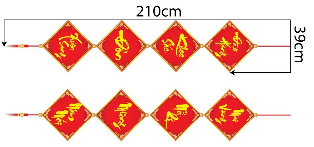 Combo decal trang trí tết câu đối xuân mẫu 23 (HN)