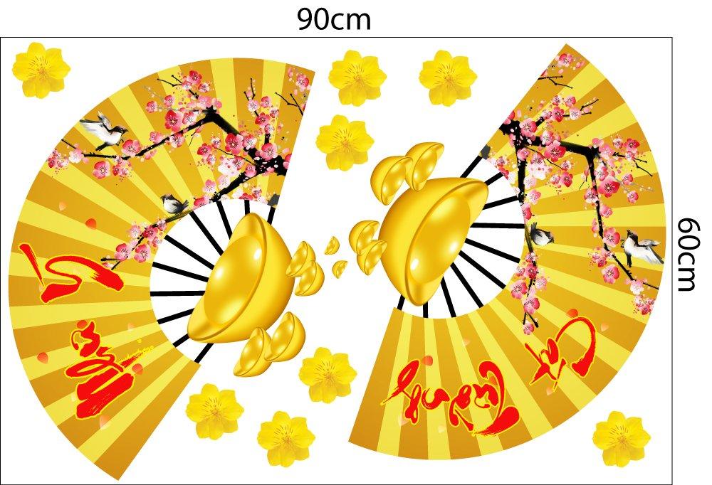 Combo decal trang trí Mai Đào Chúc mừng năm mới 09