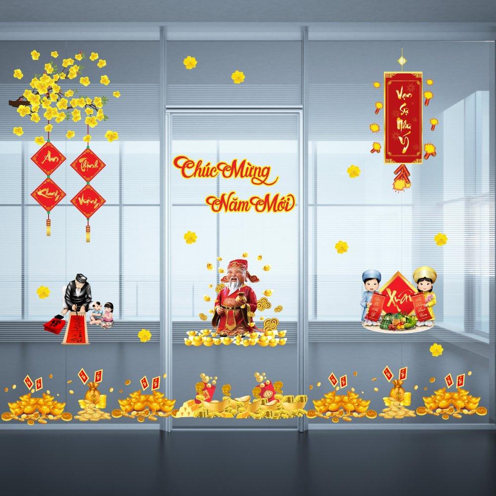 Combo decal trang trí tết Chúc mừng năm mới - Tài lộc đầy nhà