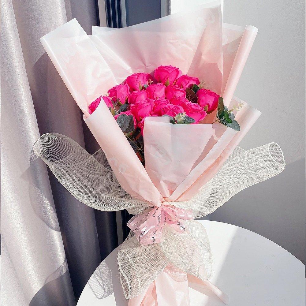 Bó hoa hồng sáp thơm màu hồng đậm