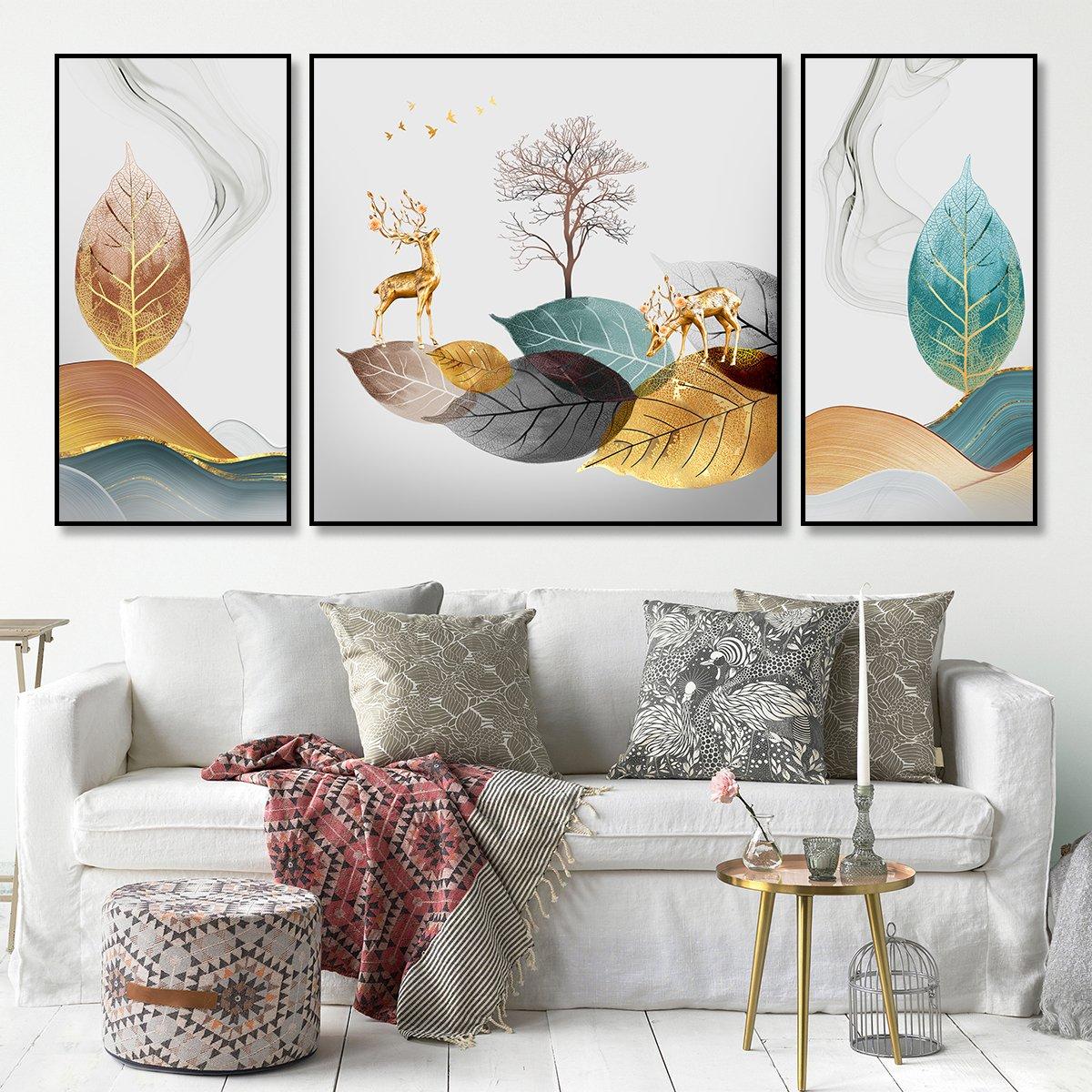 Tranh treo tường nai vàng và lá cây nghệ thuật