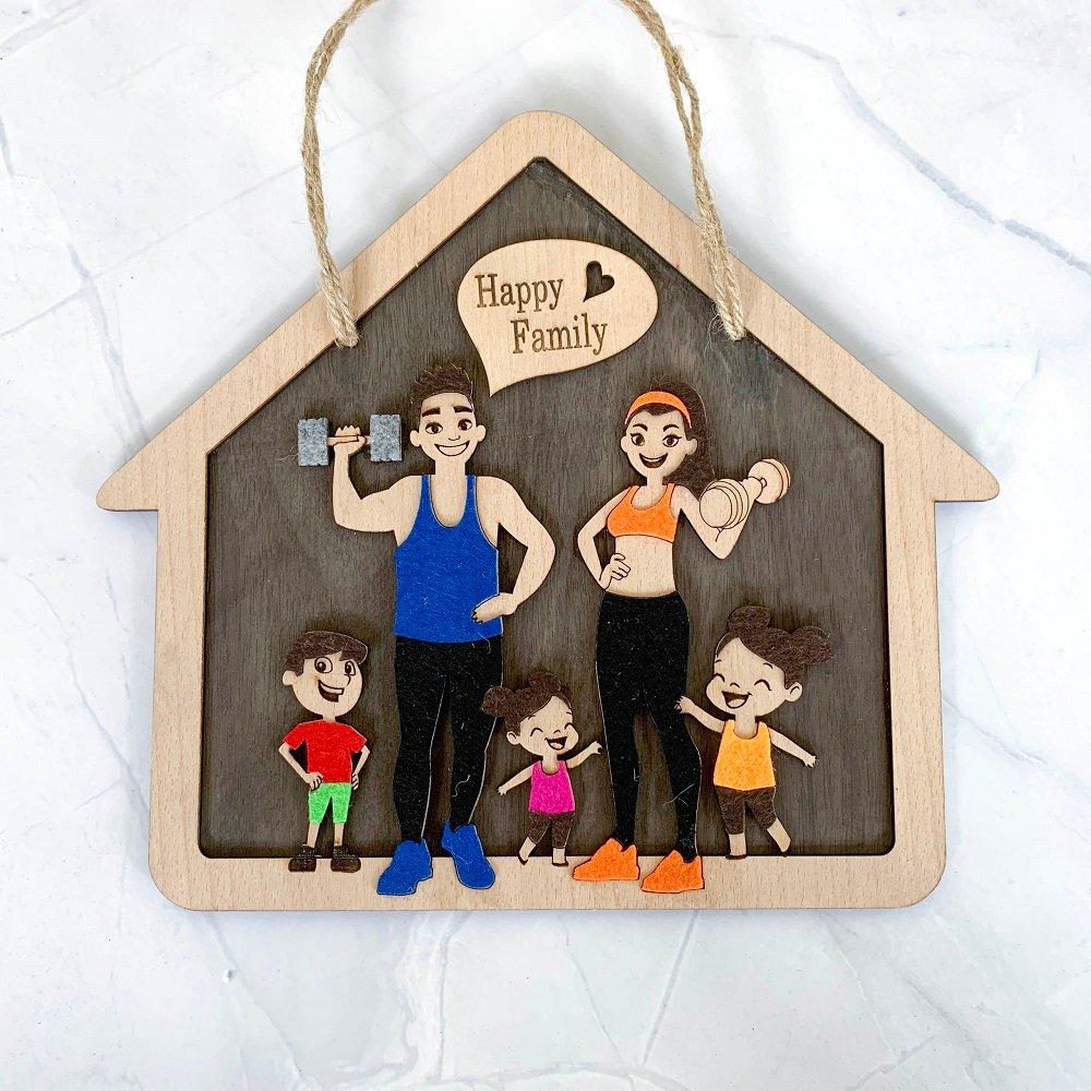 Bảng Treo Handmade Trang Trí Nhà happy family