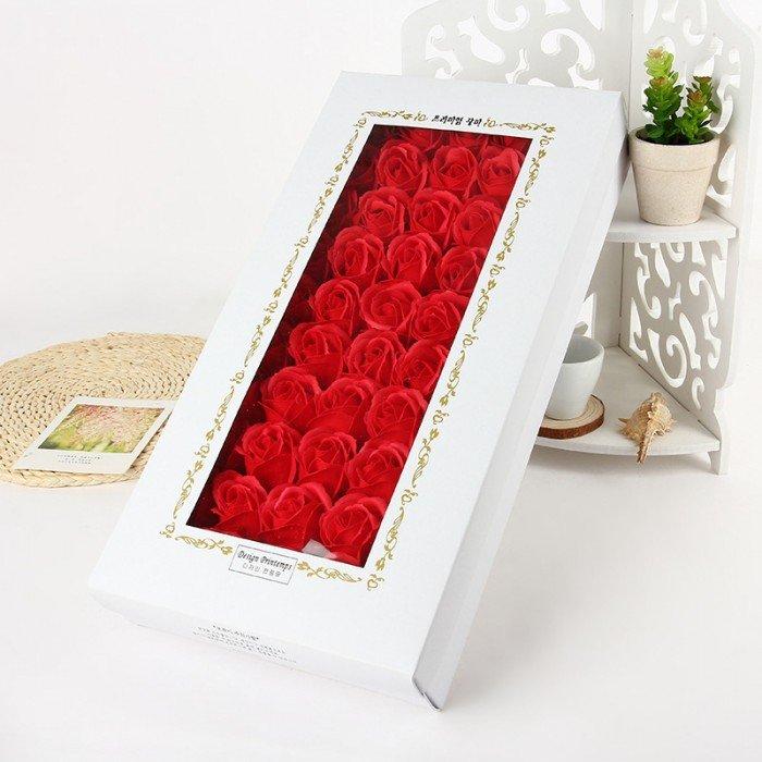 Hộp 50 bông hồng đỏ sáp thơm