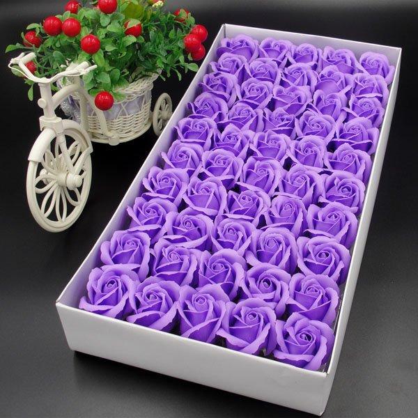 Hộp hoa hồng sáp thơm màu tím
