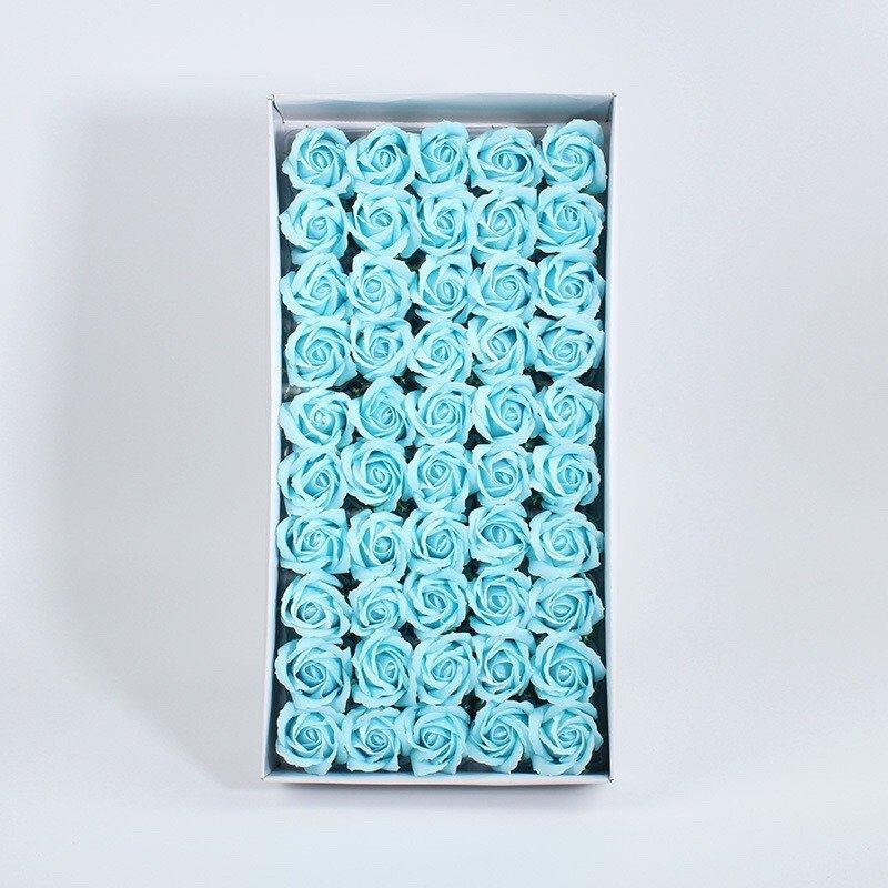 Hộp hoa hồng sáp thơm màu xanh ngọc