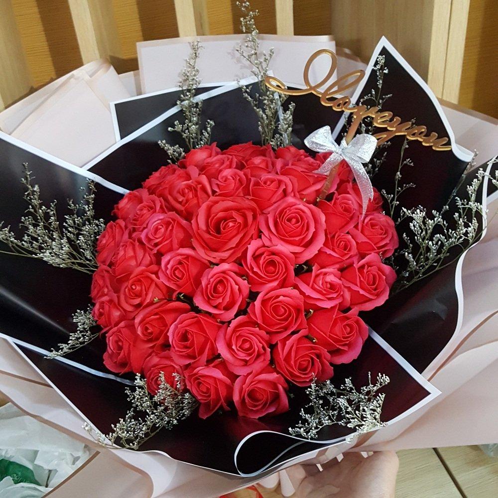 Bó Hoa Hồng Sáp Thơm Đỏ Lớn - H044