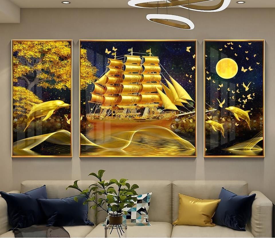 Tranh treo tường thuyền buồm và cá heo