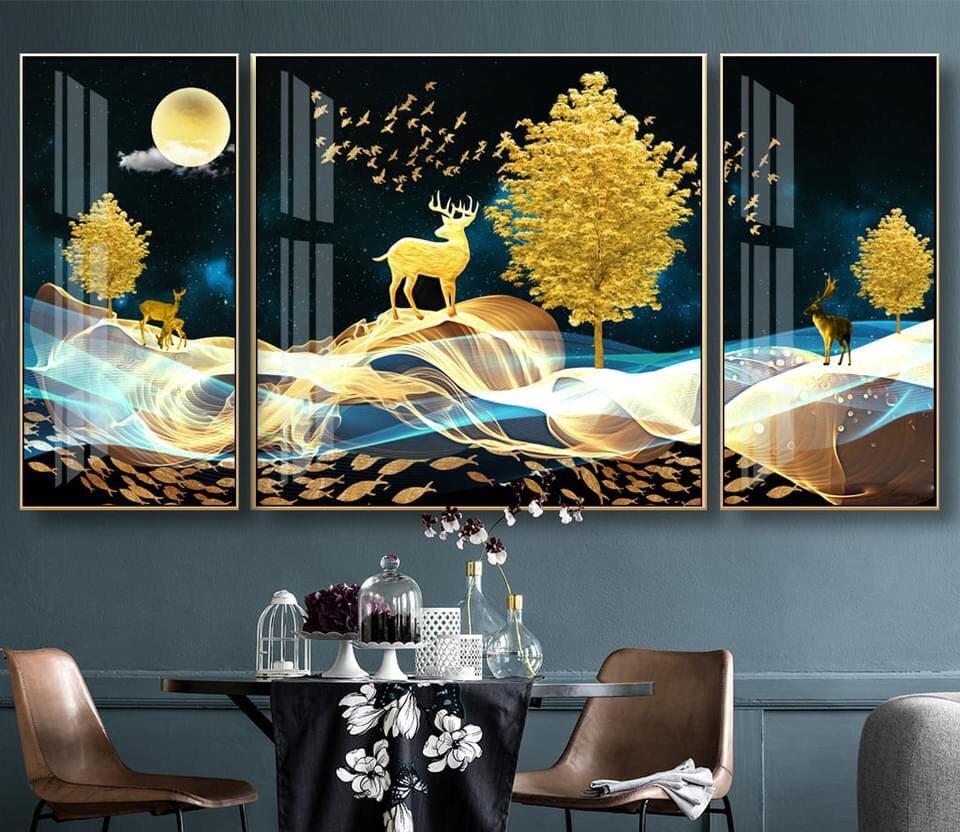 Tranh treo tường hươu vàng dưới ánh trăng 4