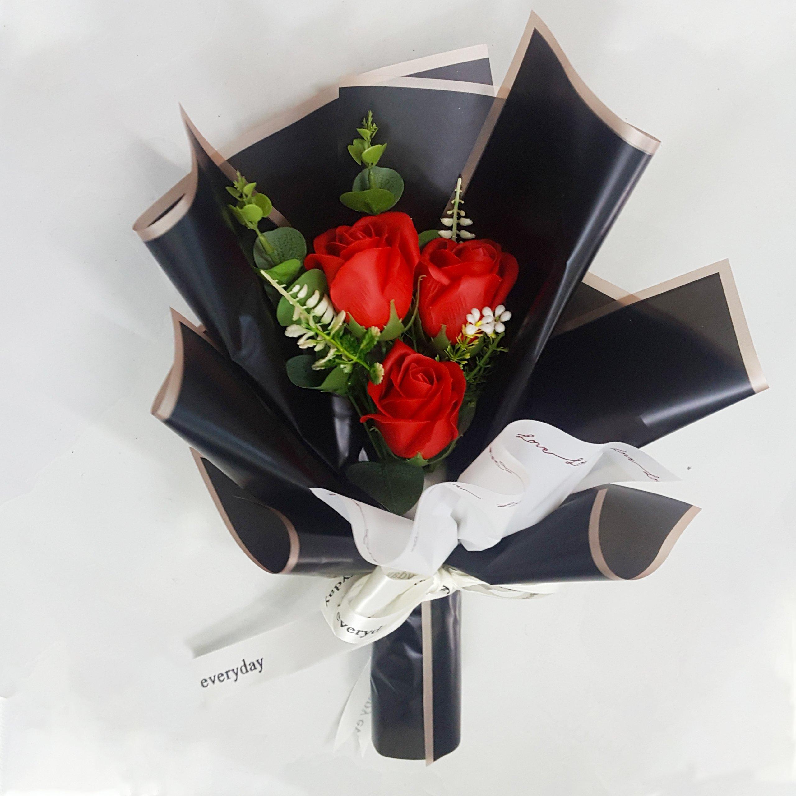 Bó 3 hoa hồng sáp thơm (nhiều mẫu) - Tặng kèm thiệp (065)