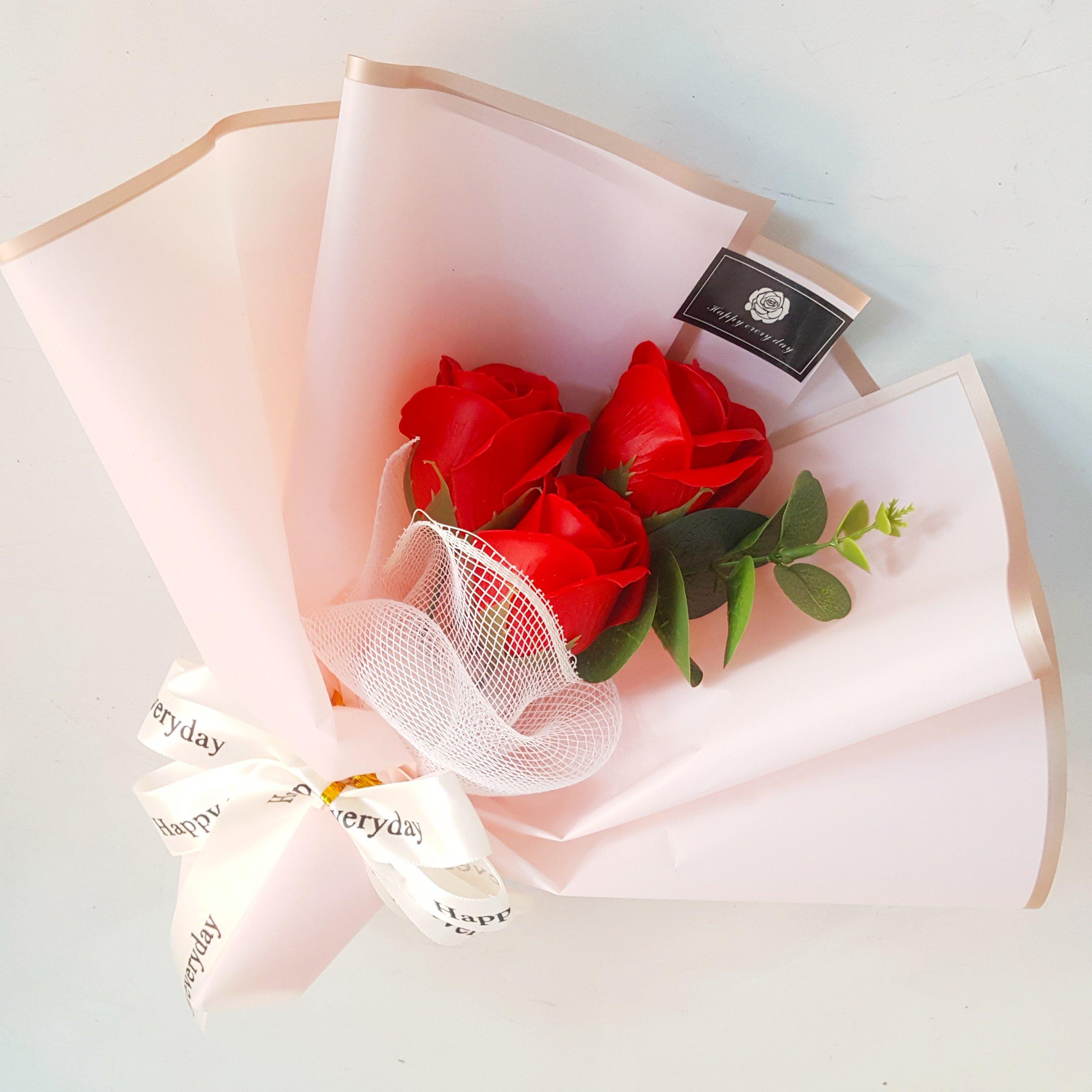 Bó 3 hoa hồng sáp thơm - Tặng kèm thiệp (071)