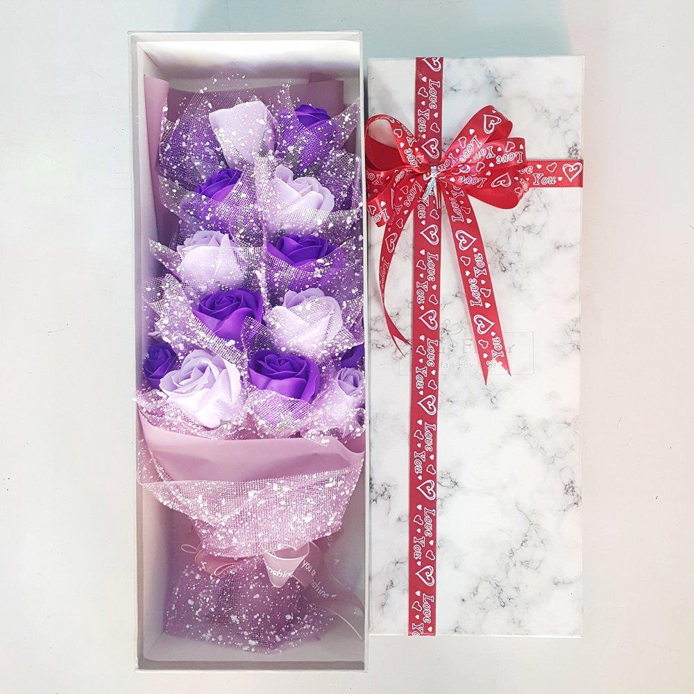 Hộp quà hoa hồng tím vân đá