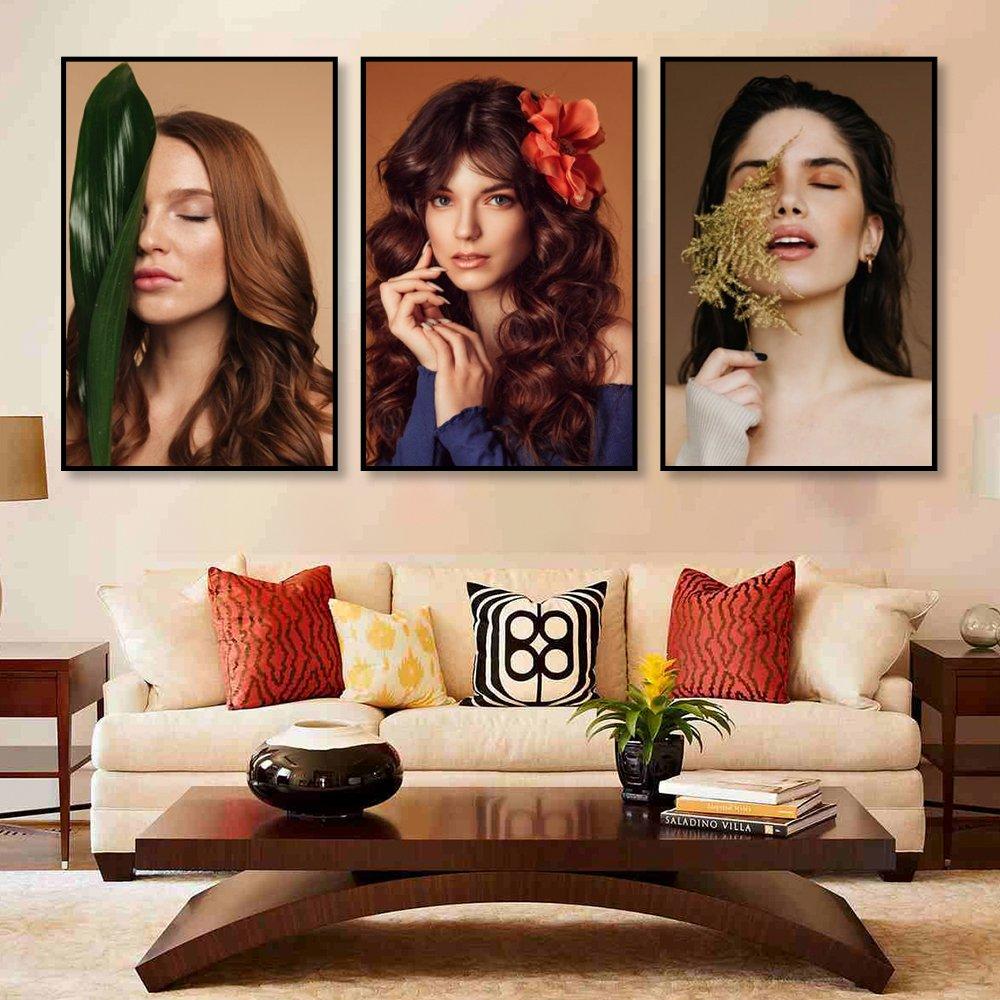 Bộ Tranh Treo Tường 3 Tấm Lady Hair - H526