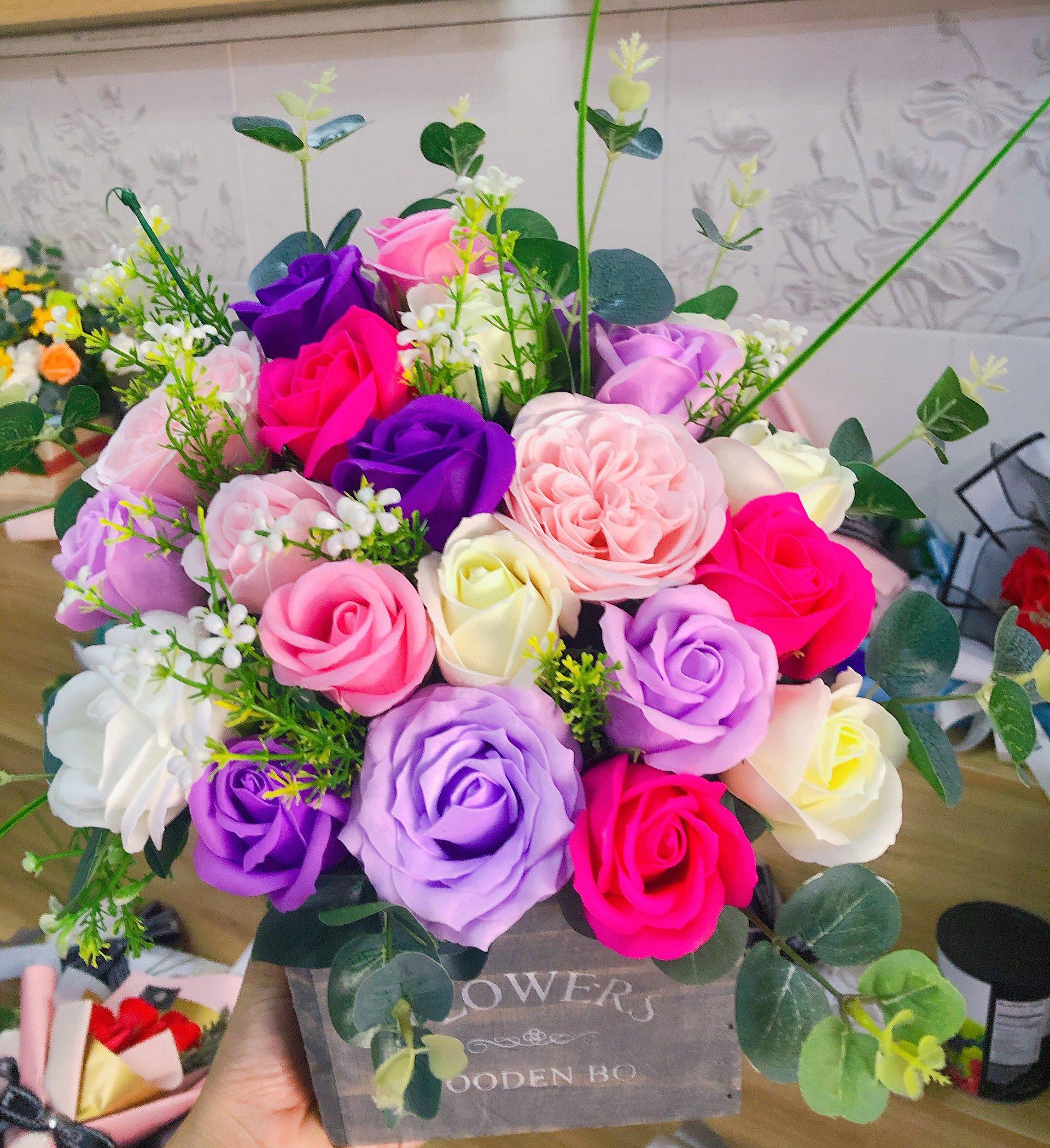 chậu gỗ hoa sáp thơm những sắc màu