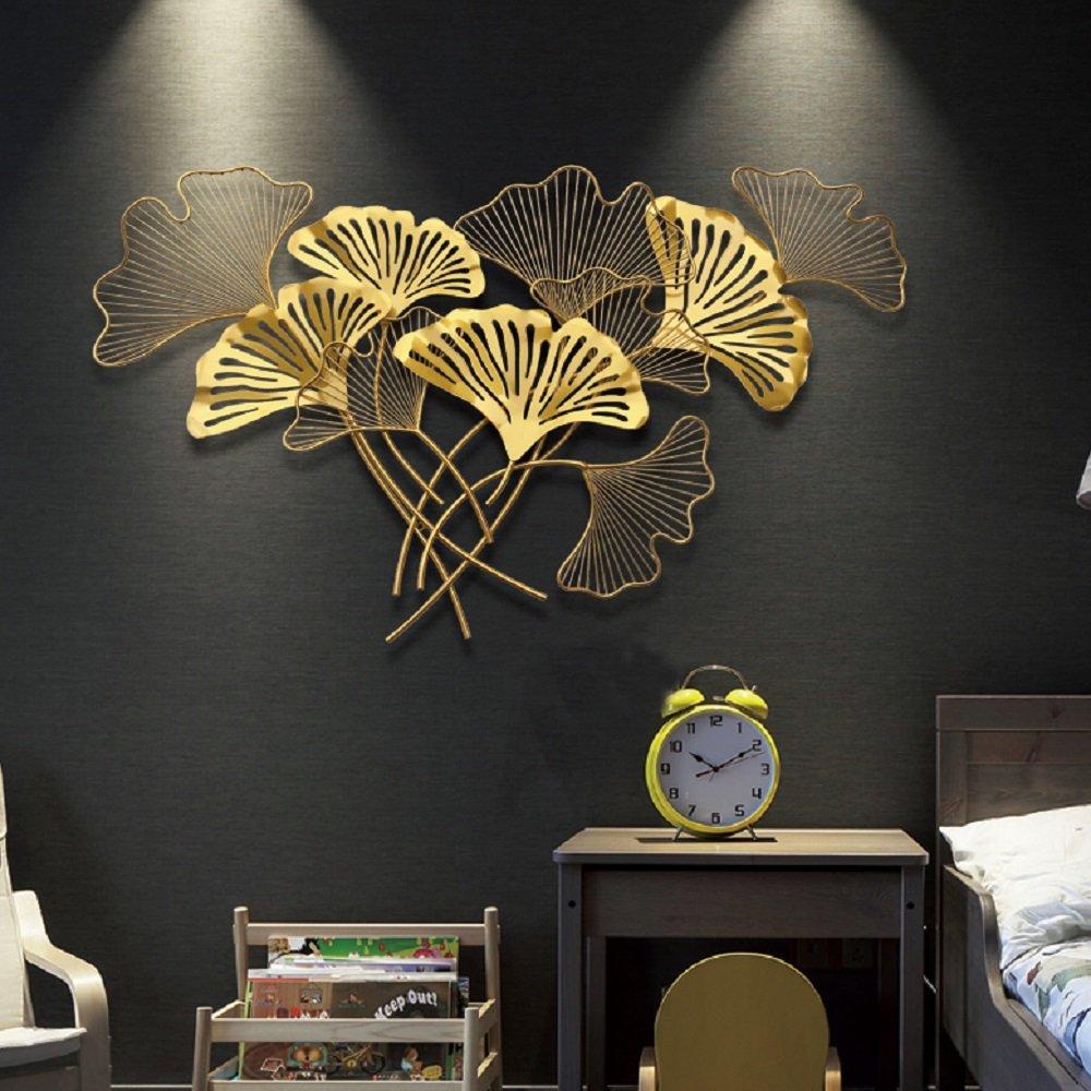 Tranh sắt nghệ thuật treo tường lá rẻ quạt vàng