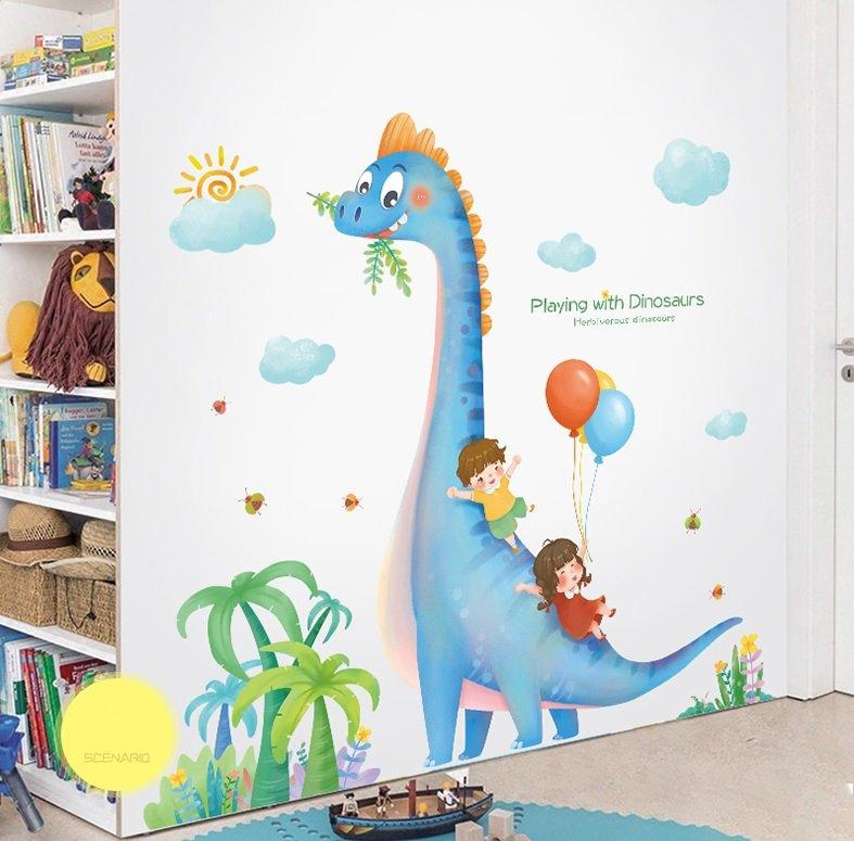 Decal dán tường bé và khủng long