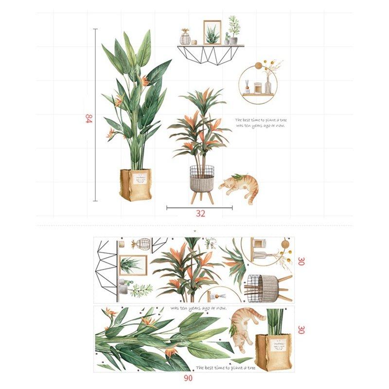 Decal dán tường hoa thiên điểu và mèo