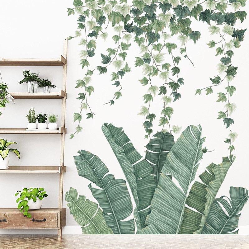 Decal dán tường lá xanh nhiệt đới 3