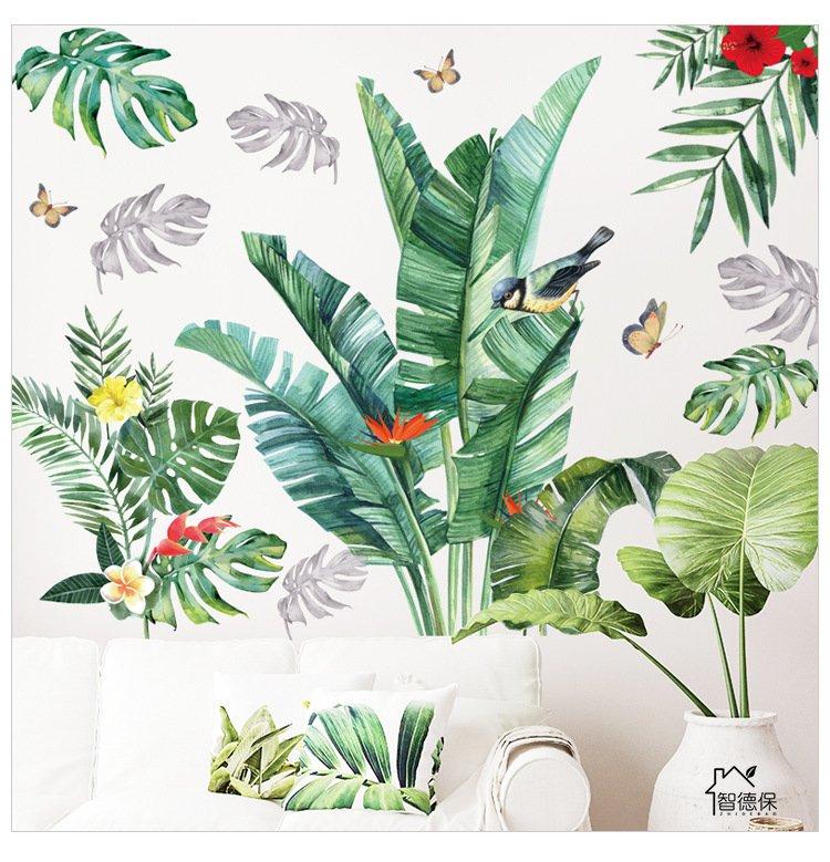Decal dán tường lá xanh và chim