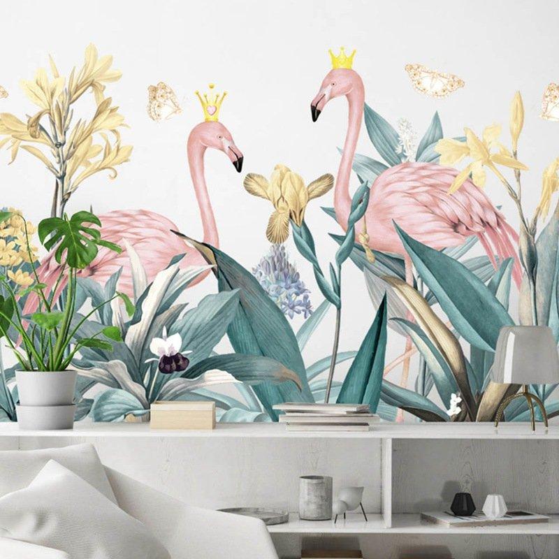Decal dán tường hồng hạc và hoa vàng