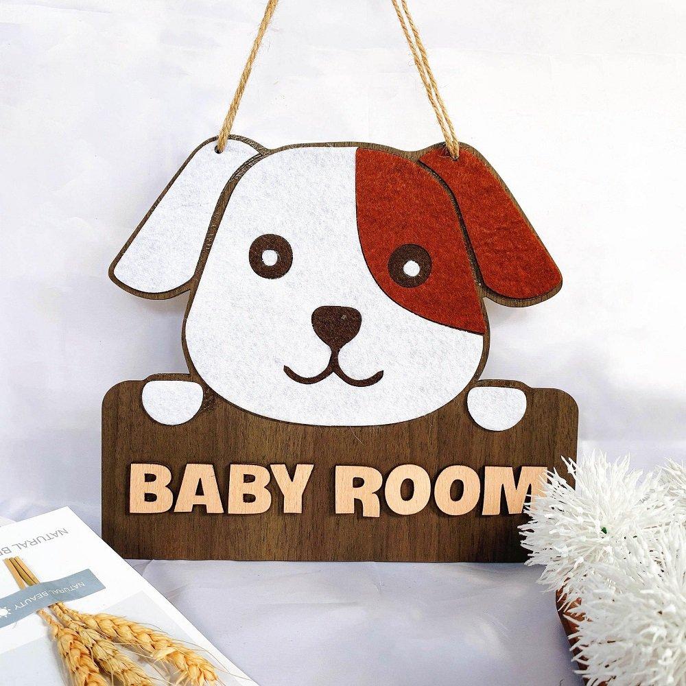 Bảng Gỗ Treo Tường Trang Trí Chú chó baby room