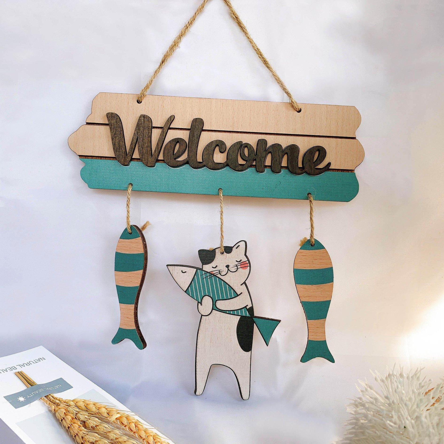 Bảng gỗ treo tường trang trí Welcome cá và mèo