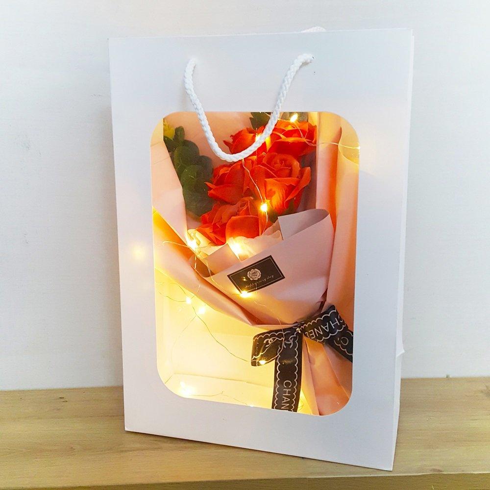 Túi hoa hồng sáp thơm kèm đèn led