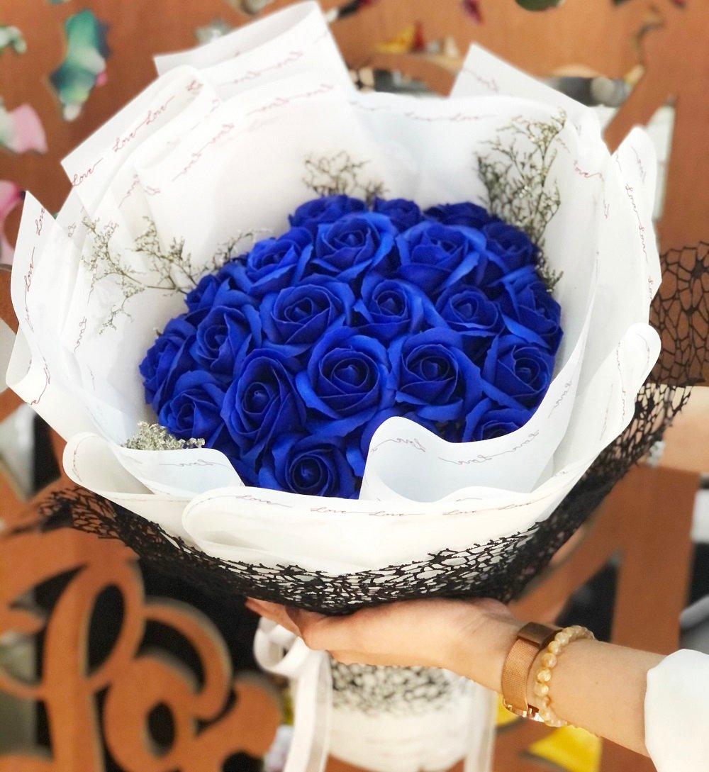 Bó 27 hoa hồng sáp thơm xanh