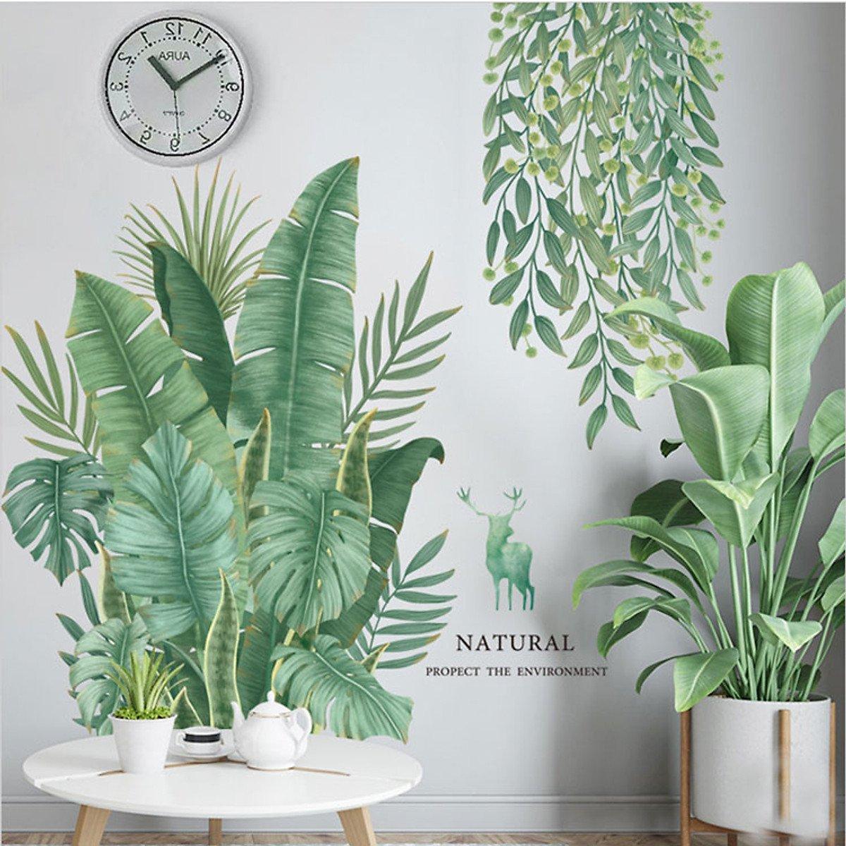 Decal dán tường lá xanh và lá phủ trần