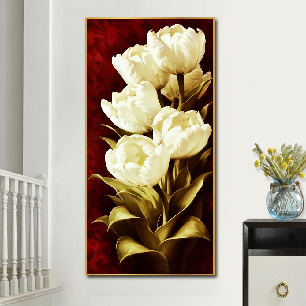 Tranh treo tường nghệ thuật hoa tulip trắng