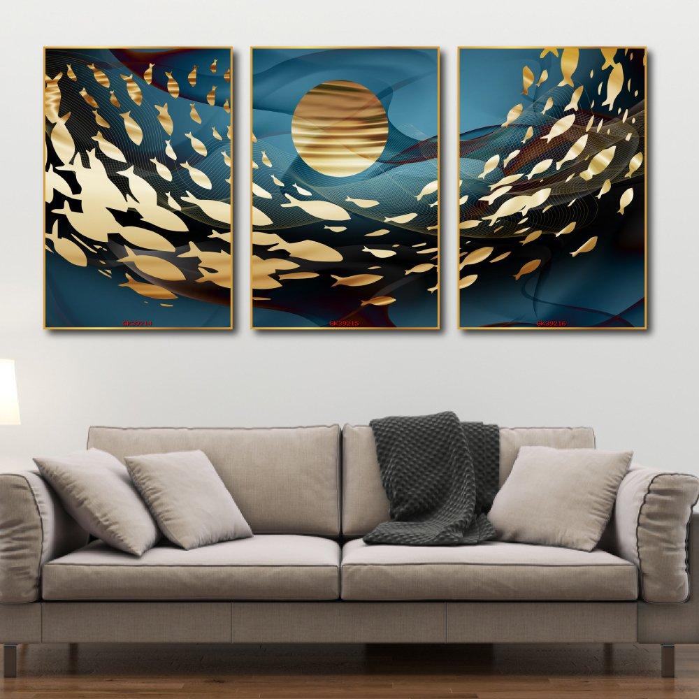 Tranh Treo Tường Đàn Cá Vàng Dưới Ánh Trăng