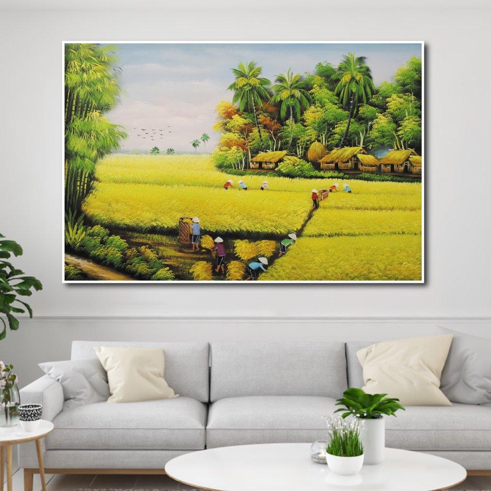 Tranh treo tường mùa gặt lúa