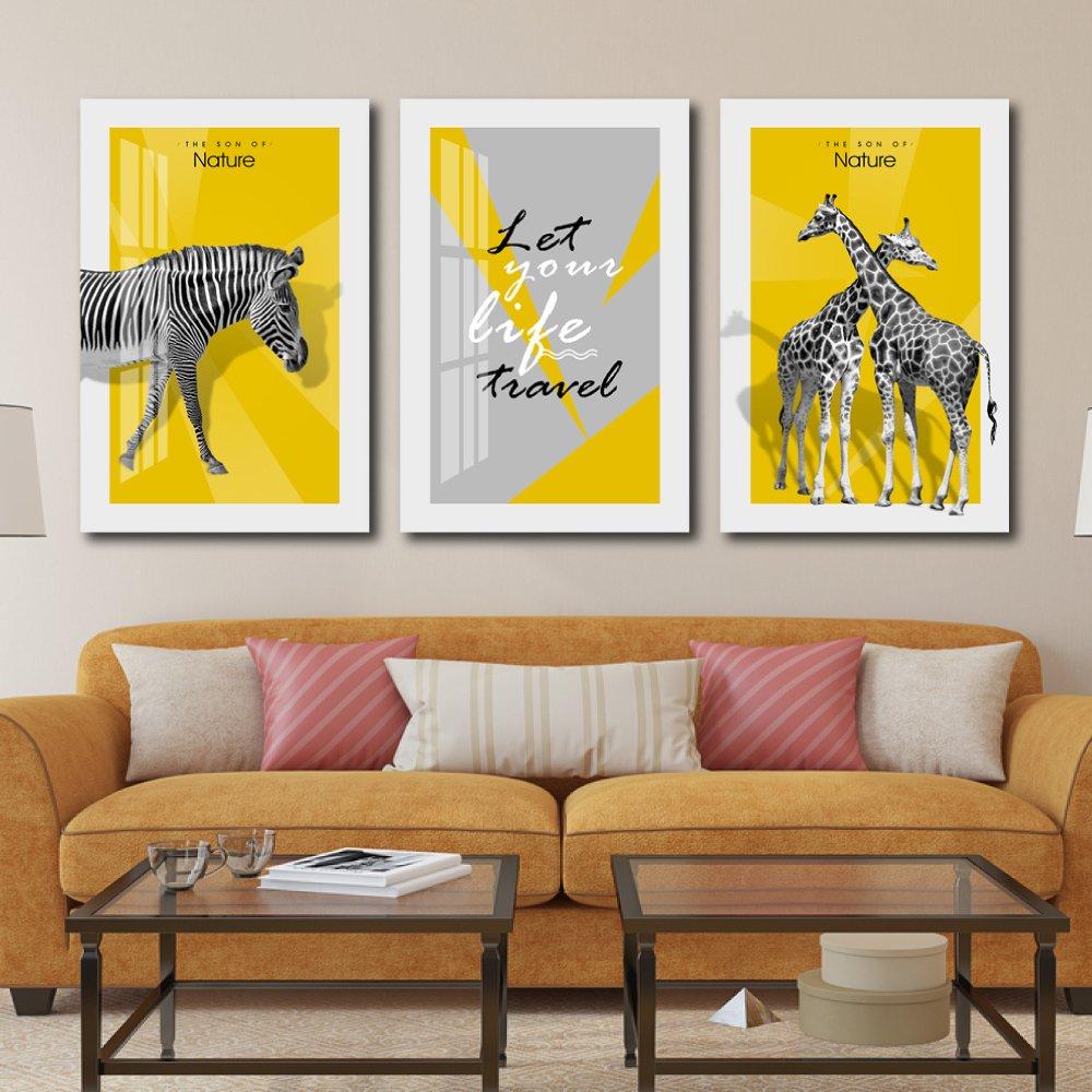 Tranh treo tường động vật ngựa vằn và hươu cao cổ