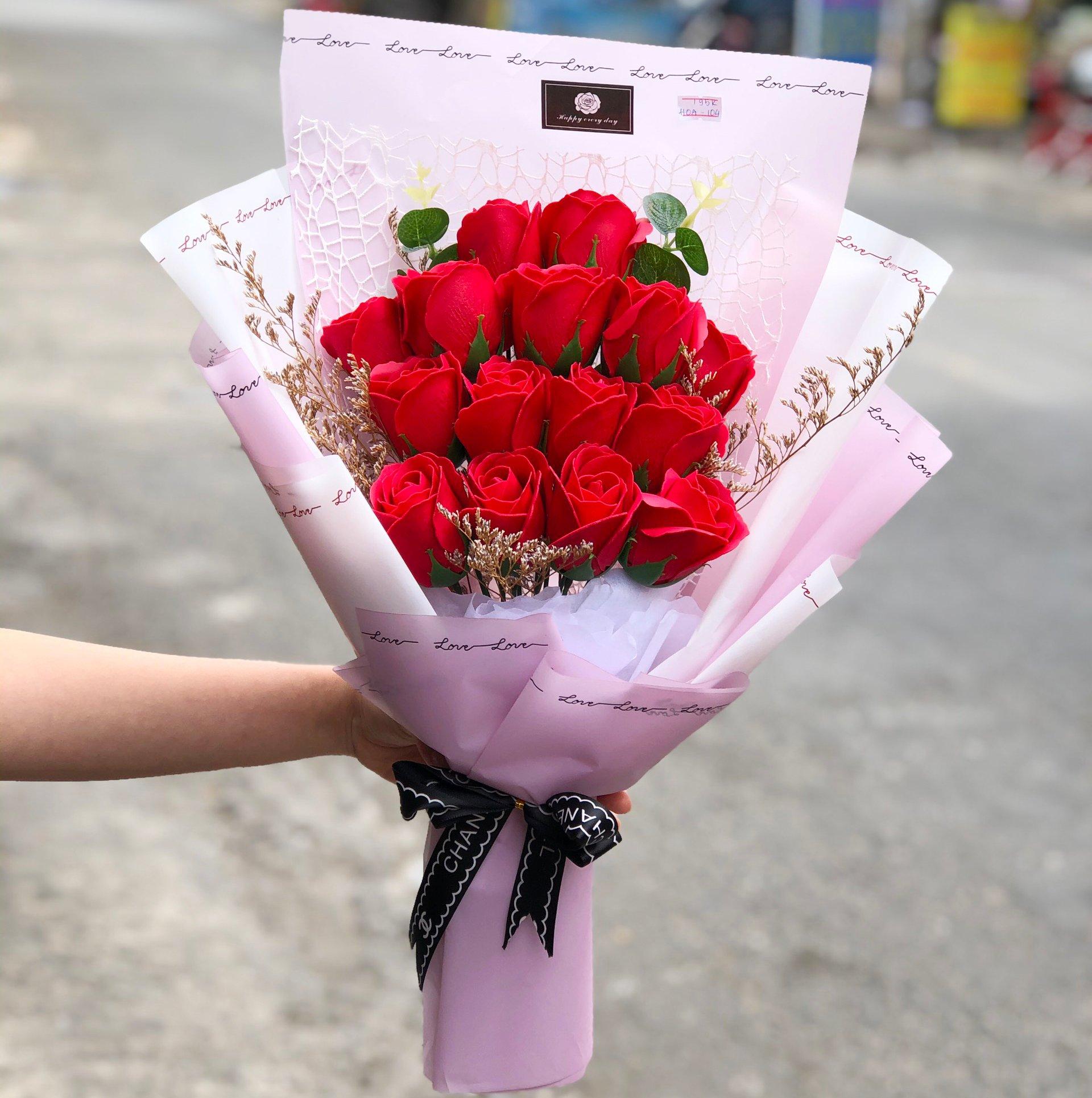 Bó hoa hồng sáp thơm hồng tươi