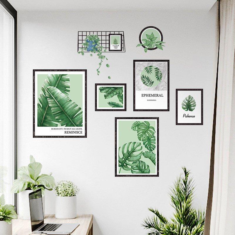 Decal dán tường bộ khung ảnh lá xanh
