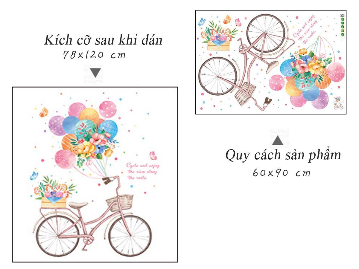 Decal dán tường xe đạp và bóng bay sắc màu