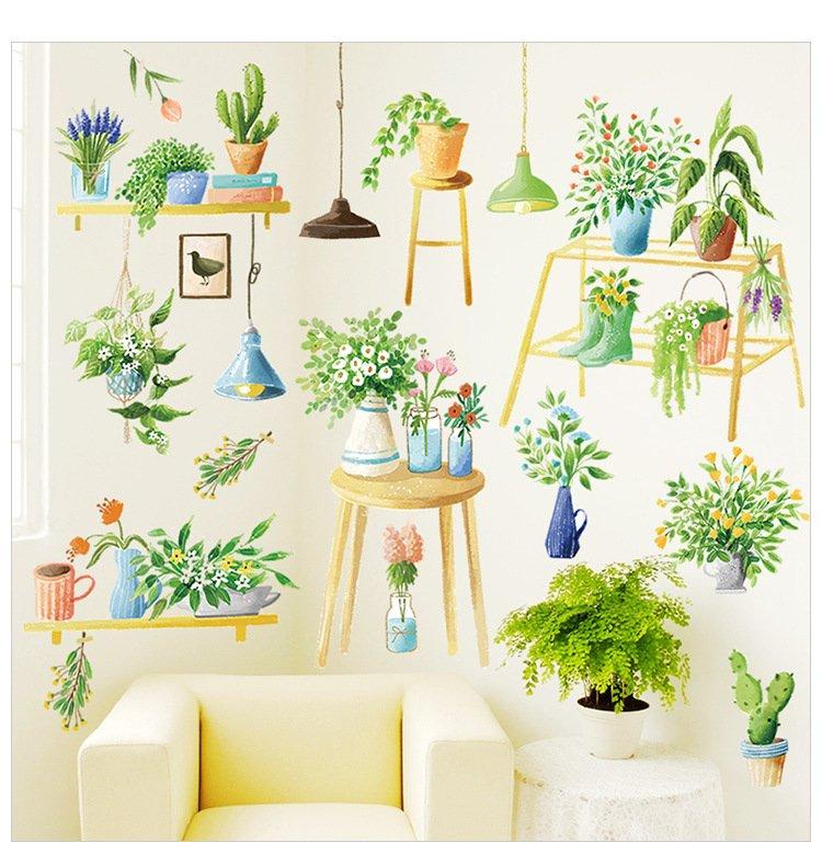 Decal dán tường không gian xanh