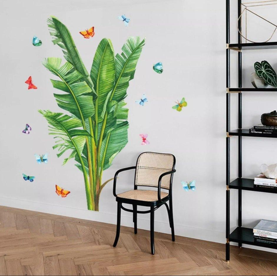 Decal dán tường lá chuối xanh và những chú bướm sắc màu