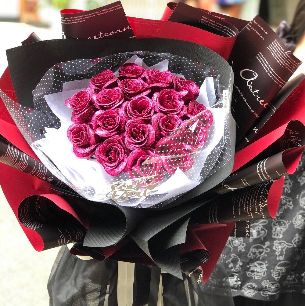 Bó hoa sáp thơm kim tuyến