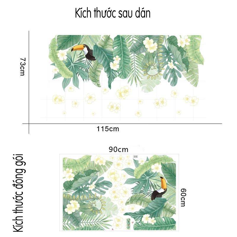 Decal dán tướng lá xanh và chim tucan (4)