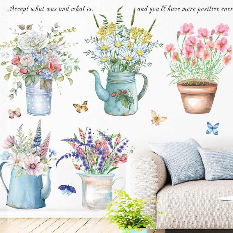 Decal dán tường chậu hoa sắc màu