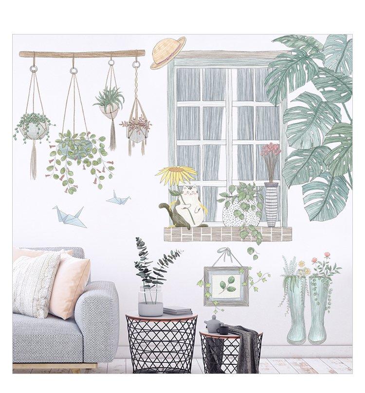 Decal dán tường góc cây xanh và cửa sổ