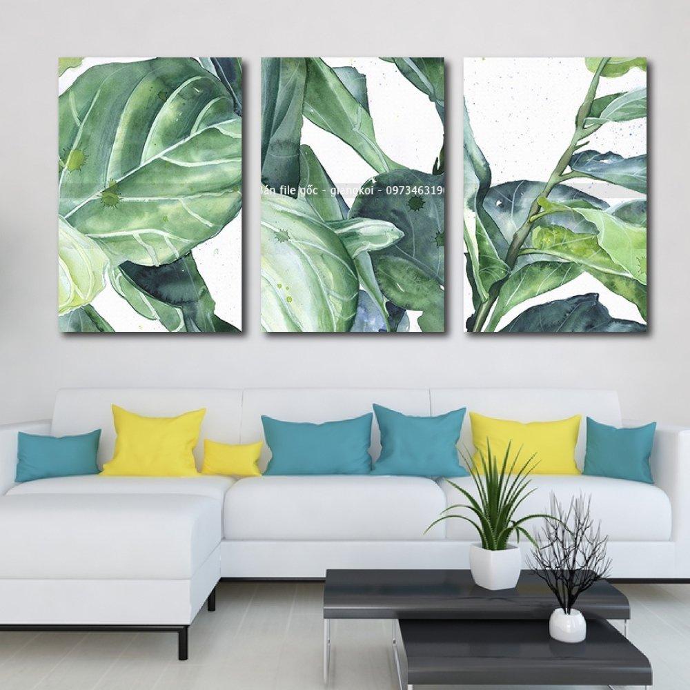 Tranh treo tường lá xanh nghệ thuật 9