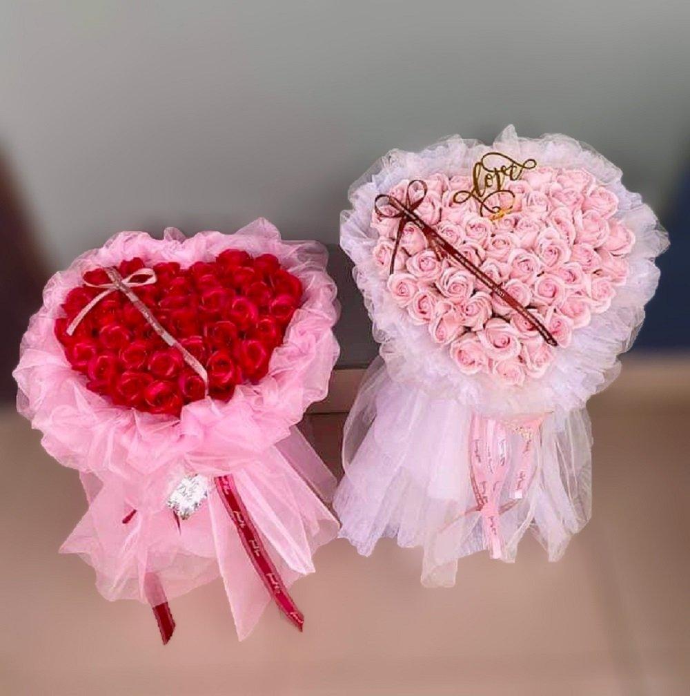 Bó hoa hồng sáp thơm trái tim 2