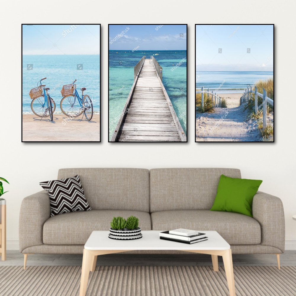 Tranh Treo Tường Biển Xanh Và Cát Trắng