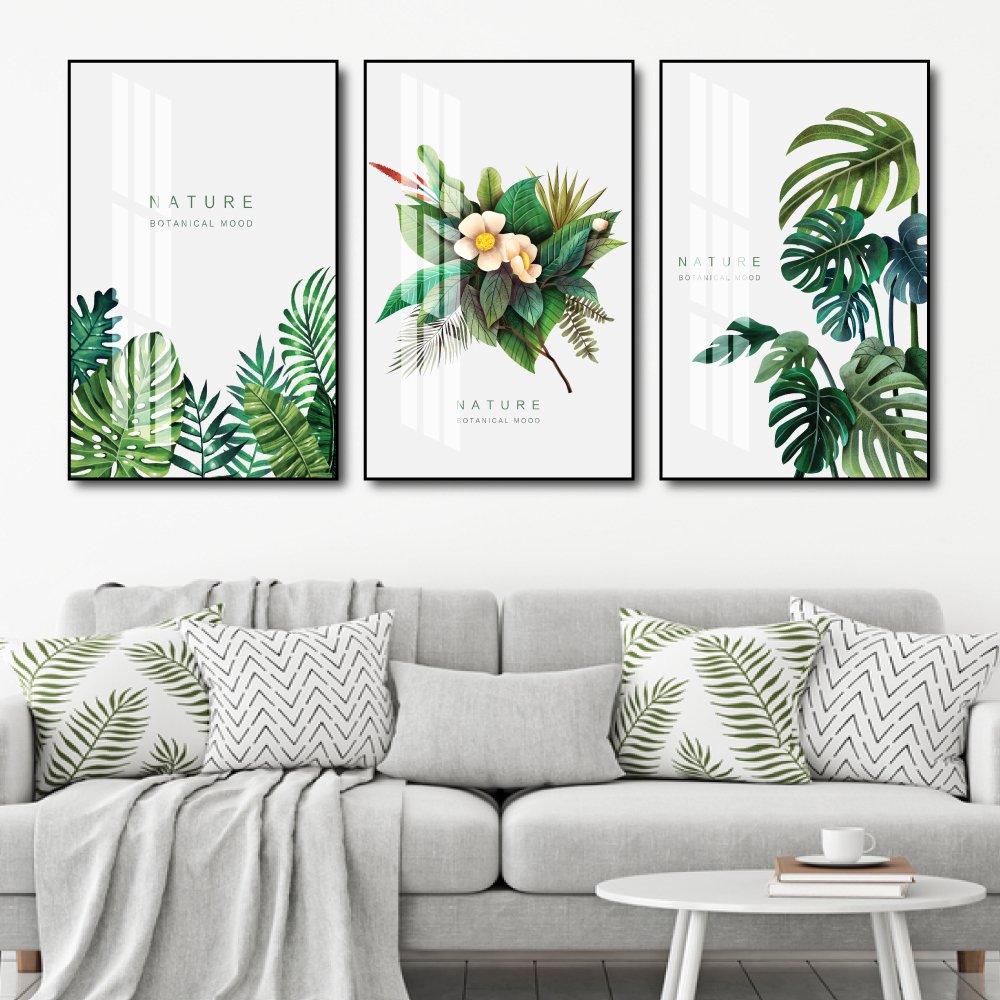 Tranh treo tường lá xanh nhiệt đới tươi mát
